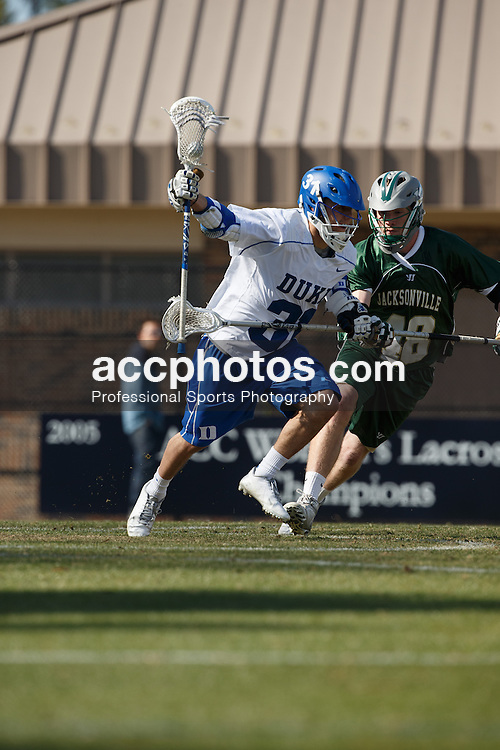 2013 February 10: Jordan Wolf #31 of the Duke Blue Devils during a 9-21 win over the Jacksonville Dolphins at Koskinen Stadium in Durham, NC.