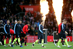 Manchester City Players and Southampton Players walk out on to the pitch prior to the beginning of the Premier League match at St Mary's Stadium, Southampton.