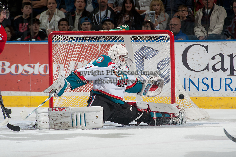 KELOWNA, CANADA - MAY 1: Jackson Whistle #1 of Kelowna Rockets makes a save against the Portland Winterhawks during the first period of game 5 of the Western Conference Final on May 1, 2015 at Prospera Place in Kelowna, British Columbia, Canada.  (Photo by Marissa Baecker/Getty Images)  *** Local Caption *** Jackson Whistle;