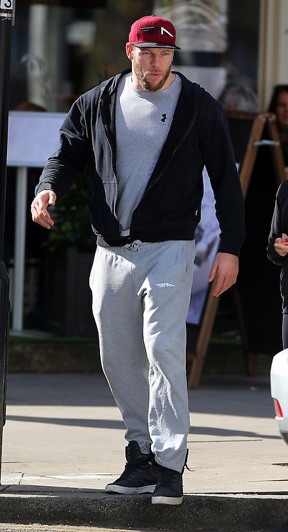 Chloe Madeley and England rugby player boyfriend James Haskell enjoy a lunch in north London. As the super-toned couple Chloe and James left the cafe they joked who's carrying the gym bag which Chloe agreed before leaving arm in arm... UK. 12/03/2015<br />