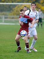 Peter Nolan Cobh Ramblers and Darragh Duggan (White)Galway United in Cappa Park in Knocknacarra, GAlway. Photo:Andrew Downes