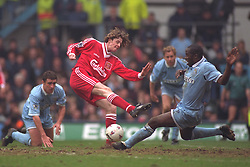 COVENTRY, ENGLAND - Saturday, April 6, 1996: Liverpool's Steve McManaman in action against Coventry City during the Premiership match at Highfield Road. Coventry won 1-0. (Pic by David Rawcliffe/Propaganda)