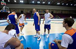 Bostjan Nachbar, Goran Jagodnik and Goran Dragic  at practice of Slovenian National Basketball team in Arena Torwar two days before the beginning of the Eurobasket 2009, on September 05, 2009 in Warsaw, Poland. (Photo by Vid Ponikvar / Sportida)