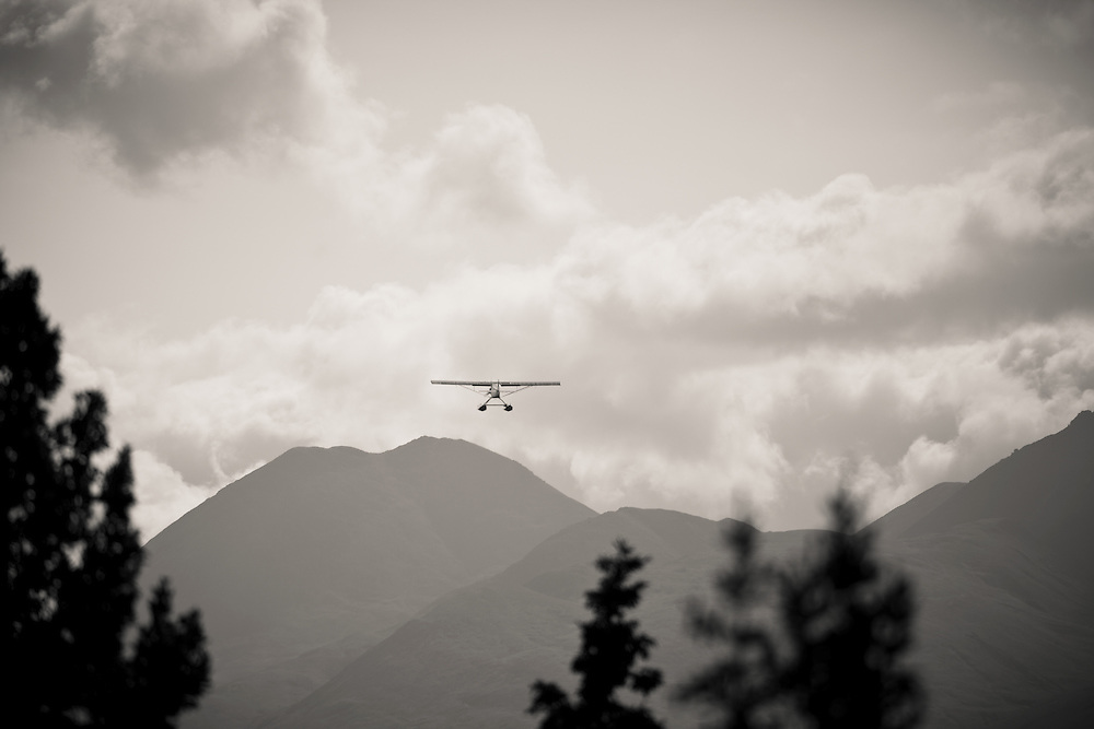 float plane flying low over the Alaska Range, interior Alaska