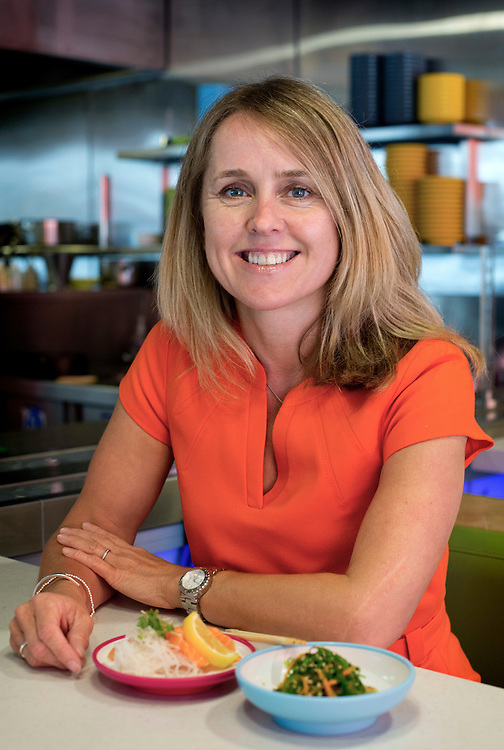 Vanessa Hall, CEO of YO! Sushi, at YO! Sushi High Street Kensington restaurant, London<br /> Photograph: Rosie Hallam