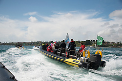 2012 Olympic Games London / Weymouth<br /> Finn Medal Race<br /> Fleet of media boats following the winner<br /> Ainslie Ben, (GBR, Finn)