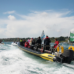 2012 Olympic Games London / Weymouth<br /> Finn Medal Race<br /> Fleet of media boats following the winner<br /> Ainslie Ben, (GBR, Finn)