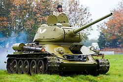 Soviet Second World War ear T-34 running at Pickering Show Ground <br /> 12 October 2013<br /> Image © Paul David Drabble<br /> www.pauldaviddrabble.co.uk