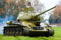 Soviet Second World War ear T-34 running at Pickering Show Ground <br />
