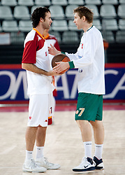 Luigi Datome (13) of Lottomatica and Vladimer Boisa (7) of Olimpija prior to the Euroleague Top 16 basketball match between Lottomatica Virtus Roma (ITA) and KK Union Olimpija Ljubljana (SLO) in Group F, on January 20, 2011 in Arena PalaLottomatica, Rome, Italy. (Photo By Vid Ponikvar / Sportida.com)