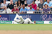 Sliding stop from Indian fielder during the 3rd International Test Match 2018 match between England and India at Trent Bridge, West Bridgford, United Kingdon on 21 August 2018.