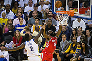 Golden State Warriors forward Jordan Bell (2) attempts to block a lay up by Houston Rockets guard James Harden (13) at Oracle Arena in Oakland, Calif., on October 17, 2017. (Stan Olszewski/Special to S.F. Examiner)