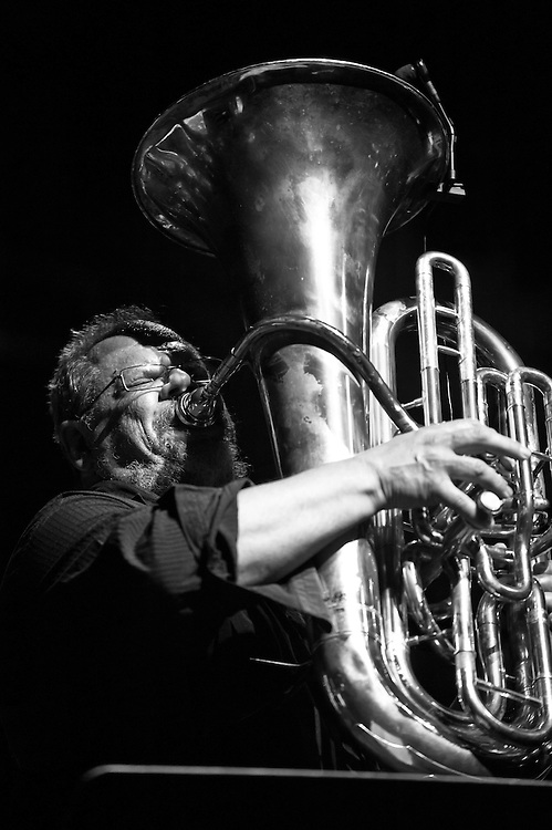 French tuba player Michel Godard performing live during the Gala concert at the ZMF music festival in Freiburg, Germany on July 7, 2013. Photo: Miroslav Dakov