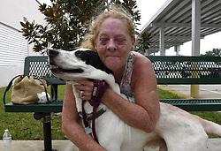 Laureen Cikora evacuates her RV in Davie, FL, USA., with her dog, Spice, to a hurricane shelter that allows pets as powerful Hurricane Irma heads toward Florida on Saturday, September 9, 2017. Photo by Taimy Alvarez/Sun Sentinel/TNS/ABACAPRESS.COM