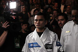 December 11, 2010; Las Vegas, NV; USA; Marcos Maidana walks to the ring for his 12 round WBA 140lb championship bout against Amir Khan at the Mandalay Bay Events Center in Las Vegas, NV.  Khan won via unanimous decision.  Photo: Ed Mulholland/HBO  (HBO Usage Only)