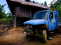 KYAING TONG, MYANMAR - CIRCA DECEMBER 2017:  Truck in a village in the area of Kyaing Tong in Myanmar