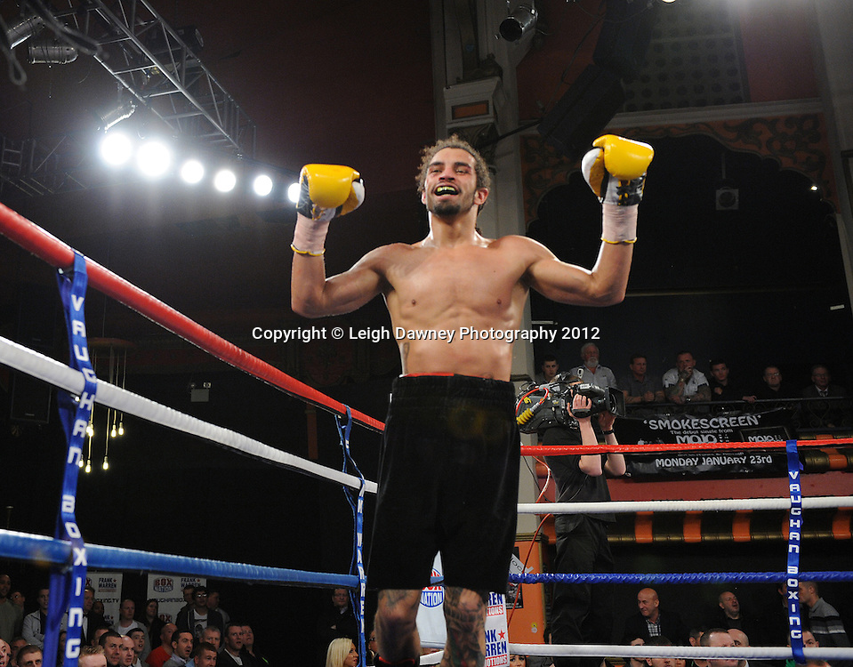 Jason Ball celebrates defeating Steve Harkin in a 10x3 min Light Middleweight contest at Olympia, Liverpool on the 20th January 2012. Vaughan Boxing Promotions. © Leigh Dawney Photography 2012.