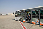 Israel, Ben-Gurion international Airport Shuttle Bus transports passengers from terminal to plane and from plane to terminal after landing