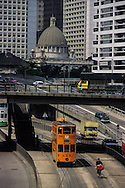 Hong Kong. tramways in Admiralty (Victoria island)  in front of the parliament (Legco)        / tramways dans  - Admiralty  -  devant le Legco (parlement);         / R00092/9    L0007247  /  P0001844