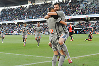 Fotball<br /> Frankrike<br /> 07.02.2015<br /> Foto: Panoramic/Digitalsport<br /> NORWAY ONLY<br /> <br /> joie Lucas Ocampos apres son but - Andre Pierre Gignac (Marseille)<br /> Rennes vs Marseille - Ligue 1