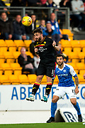 Partick Thistle midfielder Steven Lawless (#11) leaps to win a header in the middle of the pitch during the Betfred Scottish Cup match between St Johnstone and Partick Thistle at McDiarmid Stadium, Perth, Scotland on 8 August 2017. Photo by Craig Doyle.