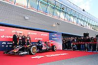 (L to R): Max Verstappen (NLD) Scuderia Toro Rosso; Franz Tost (AUT) Scuderia Toro Rosso Team Principal and Carlos Sainz Jr (ESP) Scuderia Toro Rosso unveil the new Scuderia Toro Rosso STR10.<br /> Formula One Testing, Preparation Day, Saturday 31st January 2015. Jerez, Spain.