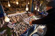 """Istanbul. At the Egyptian Bazar (""""Spice Bazar""""). Fish dealer."""