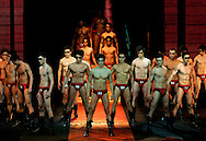 Chinese models  compete during the China finals of the  2006 Manhunt World Man Model contest in the frame of China's Fashion Week in Beijing Wednesday March 29, 2006.