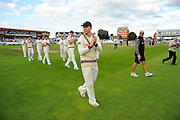 Chris Rogers of Somerset on the parade around the County Ground after his teams win over Nottinghamshire the Specsavers County Champ Div 1 match between Somerset County Cricket Club and Nottinghamshire County Cricket Club at the Cooper Associates County Ground, Taunton, United Kingdom on 22 September 2016. Photo by Graham Hunt.