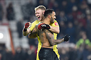 Callum Wilson (13) of AFC Bournemouth celebrates the 3-1 win with Aaron Ramsdale (12) of AFC Bournemouth at full time during the Premier League match between Bournemouth and Brighton and Hove Albion at the Vitality Stadium, Bournemouth, England on 21 January 2020.