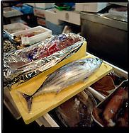 Katsuo (bonito) the base for katsuo dashi broth and katsuo bushi flakes, Tsukiji Fish Market, Tokyo, Japan.