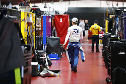 April 27, 2018 - Talladega, Alabama, United States of America - Jamie McMurray (1) hangs out in the garage during practice for the GEICO 500 at Talladega Superspeedway in Talladega, Alabama. (Credit Image: © Justin R. Noe Asp Inc/ASP via ZUMA Wire)