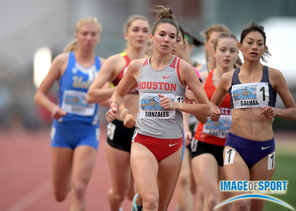Apr 19, 2019; Torrance, CA, USA; Brittani Gonzales of Houston leads the invitational 1,500m mduring the 61st Mt. San Antonio College Relays at El Camino College.