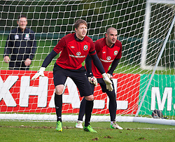 CARDIFF, WALES - Monday, October 14, 2013: Wales' goalkeepers Wayne Hennessey and Boaz Myhill during a training session at the Vale of Glamorgan ahead of the 2014 FIFA World Cup Brazil Qualifying Group A match against Belgium. (Pic by David Rawcliffe/Propaganda)