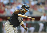 May 14, 2013; Phoenix, AZ, USA; Atlanta Braves outfielder Justin Upton (8) is walked in the first inning against the Arizona Diamondbacks at Chase Field. Mandatory Credit: Jennifer Stewart-USA TODAY Sports