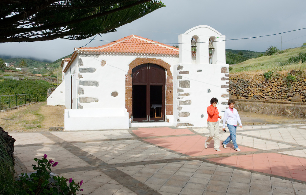 La Gomera, Canary Islands. Exterior of the Ermita de la Salud Catholic church. Village of Arure to the north of Valle Gran Rey
