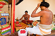 Apr. 28 -- SINGAPORE:  Hindu priests  in the Sri Mariamman Hindu Temple in Singapore. It's the oldest Hindu temple in Singapore.  PHOTO BY JACK KURTZ