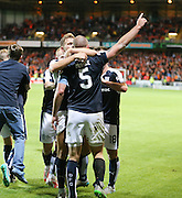 James McPake celebrates with Dundee's first goal scorer Greg Stewart  after scoring with the last kick of the ball - Dundee United v Dundee at Tannadice<br /> - Ladbrokes Premiership<br /> <br />  - &copy; David Young - www.davidyoungphoto.co.uk - email: davidyoungphoto@gmail.com