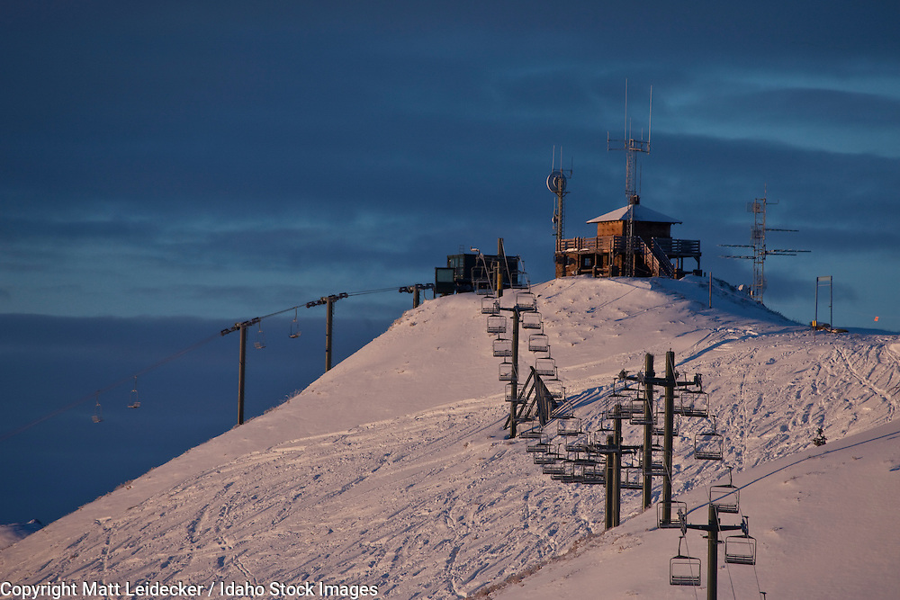 "The Mayday Lift and ""Chair To Nowhere"" converge at the fire lookout on true summit of Bald Mountain, Sun Valley, ID."
