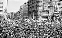 Thousands gather at the front of the City Hall, Belfast, in response to an Ulster Vanguard call for a 2 day strike to protest against the derogation of the N Ireland Parliament at Stormont and the introduction of direct rule by Westminster with the appointment of William Whitelaw as Secretary of State for N Ireland. Assembled gathering was address by William Craig, MP, leader, Ulster Vanguard. 197203270152b.<br /> <br /> Copyright Image from Victor Patterson, 54 Dorchester Park, Belfast, UK, BT9 6RJ<br /> <br /> t1: +44 28 9066 1296 (from Rep of Ireland 048 9066 1296)<br /> t2: +44 28 9002 2446 (from Rep of Ireland 048 9002 2446)<br /> m: +44 7802 353836<br /> <br /> e1: victorpatterson@me.com<br /> e2: victorpatterson@gmail.com<br /> <br /> The use of my copyright images is subject to my Terms & Conditions.<br /> <br /> It is IMPORTANT that you familiarise yourself with them. They are available on my website at www.victorpatterson.com.<br /> <br /> None of my copyright images may be used on a website unless they are visibly watermarked, i.e. © Victor Patterson within the body of the visible image. Metadata denoting my copyright must NOT be deleted. <br /> <br /> Web use is extra at currently recommended NUJ rates.