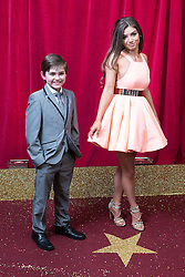 © Licensed to London News Pictures . 16/05/2015 .  The Palace Hotel , Manchester , UK . Eliot Carrington and Mimi Keene . The red carpet at the 2015 British Soap Awards , The Palace Hotel , Oxford Road , Manchester . Photo credit : Joel Goodman/LNP