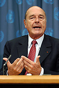 At a press conference during the annual United nations General Assembly, the President of France, Jacques Chirac, is critical towards the statements made by US President G. W. Bush early tuesday.