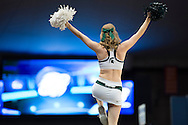 27 MAR 2015: A Michigan State University cheerleader fires up the crowd against the University of Oklahoma during the 2015 NCAA Men's Basketball Tournament held at the Carrier Dome in Syracuse, NY. Michigan State defeated Oklahoma 62-58. Brett Wilhelm/NCAA Photos