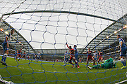 Middlesbrough FC midfielder Albert Adomah scores the second goal during the Sky Bet Championship match between Brighton and Hove Albion and Middlesbrough at the American Express Community Stadium, Brighton and Hove, England on 19 December 2015. Photo by Phil Duncan.