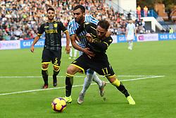 """Foto Filippo Rubin<br /> 28/10/2018 Ferrara (Italia)<br /> Sport Calcio<br /> Spal - Frosinone - Campionato di calcio Serie A 2018/2019 - Stadio """"Paolo Mazza""""<br /> Nella foto: MOHAMED FARES (SPAL) VS FRANCESCO ZAMPANO (FROSINONE)<br /> <br /> Photo Filippo Rubin<br /> October 28, 2018 Ferrara (Italy)<br /> Sport Soccer<br /> Spal vs Frosinone - Italian Football Championship League A 2018/2019 - """"Paolo Mazza"""" Stadium <br /> In the pic: MOHAMED FARES (SPAL) VS FRANCESCO ZAMPANO (FROSINONE)"""