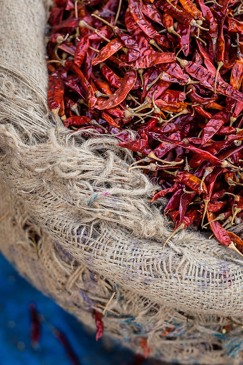 Dried Peppers for sale on and old bag.
