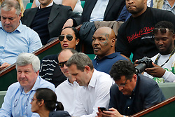 Former Boxing World Champion Mike Tyson watching USA's Sloane Stephens playing in the 1/4 of finals of the French Tennis Open 2018, in the Roland-Garros Stadium, Paris, France, on June 5th, 2018. Photo by Henri Szwarc/ABACAPRESS.COM