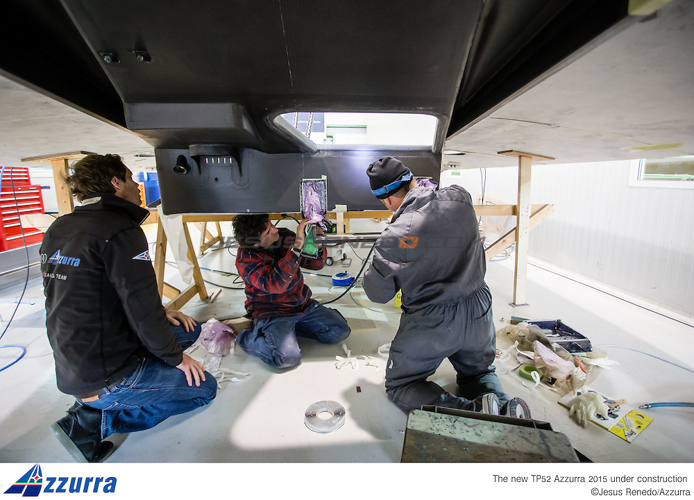 "Tp 52 Azzurra 2015, desgined by "" Botin Partners"" and build in King Composites, Valencia. Firsts stages of building in Valencia"