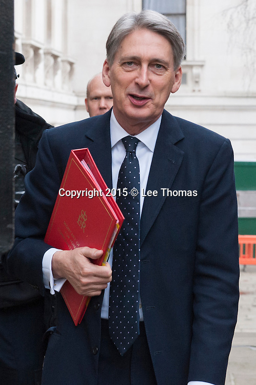 Downing Street, London, UK. 24th March, 2015. Government ministers attend the weekly Cabinet Meeting at Downing Street. Pictured: Philip Hammond // Lee Thomas, Flat 47a Park East Building, Bow Quarter, London, E3 2UT. Tel. 07784142973. Email: leepthomas@gmail.com. www.leept.co.uk