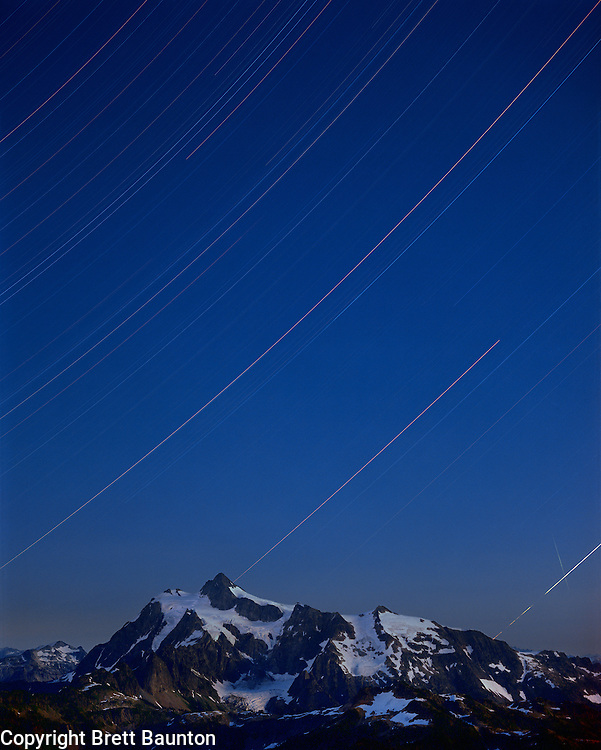 Mt. Shuksan, Star Trails, North Cascades National Park from Mt. Baker Wilderness Area, WA